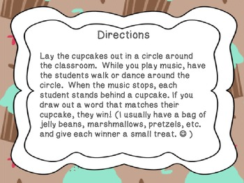 Cupcake Walk- Dolch First Grade Sight Words
