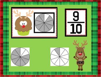 Cupcake Wars: Christmas Edition Fractions Smartboard Lesson