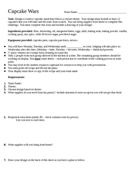 Cupcake Wars Requirements Page