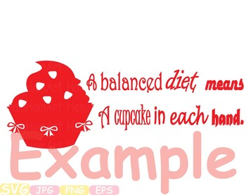 Cupcake Word Art clip art cake diets are hard svg gym weight loss Calories -298s
