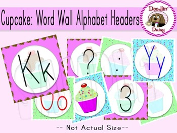 Cupcake: Word Wall Alphabet Headers