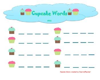 Cupcake Words CVC CVCC Silent E