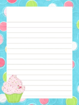 Cupcake Writing Paper - 3 Designs - ( 7 1/2x10 )