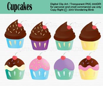 Cupcake clip art - set of 8 clip arts