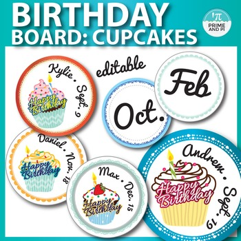 Birthday board / chart: cupcake theme