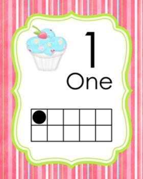 Cupcake Ten Frame Posters 0 - 10