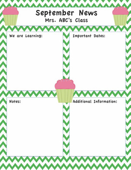 CupcakeThemed Editable Newsletter