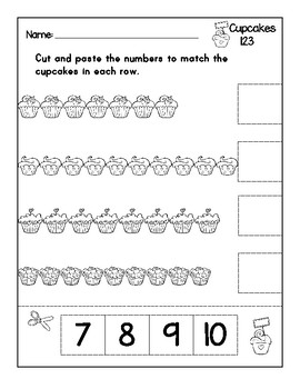 Cupcakes 123 - Numbers 1 to 10 Cut and Paste