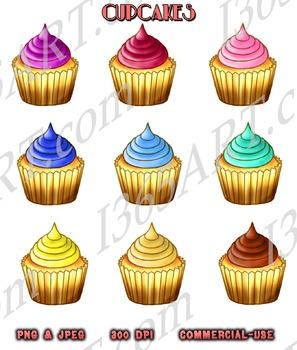 Cupcakes Assorted Color Clip Art Pack Digital Graphics Instant Download