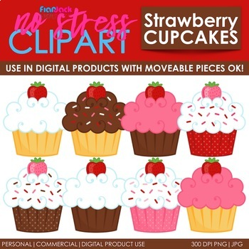Cupcakes Strawberries with Sprinkles Clip Art (Digital Use Ok!)
