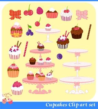 Cupcakes Clip Art Set