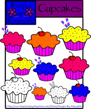 Cupcakes Clip Art {Designs By Nawailohi}