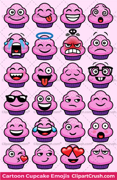 Cupcakes Emoji Clipart Faces / Cute Cartoon Cupcake Emojis Emotions Expressions