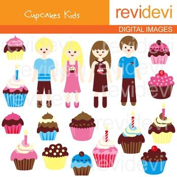 Cupcakes Kids Clip art