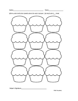Cupcakes Open Ended Articulation Worksheet