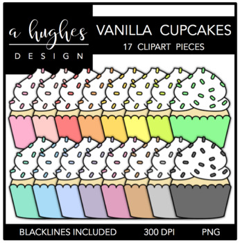 Vanilla Cupcakes Clipart {A Hughes Design}