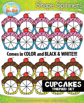 Cupcakes Spinner Shapes Clipart {Zip-A-Dee-Doo-Dah Designs}