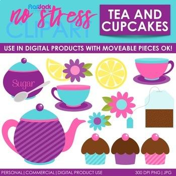 Cupcakes Tea Clip Art (Digital Use Ok!)