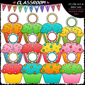 Cupcakes With Blank Toppers Clip Art - Cupcakes Clip Art & B&W Set