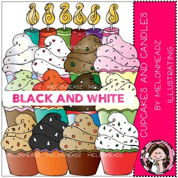 Melonheadz: Cupcakes and Candles clip art - BLACK AND WHITE