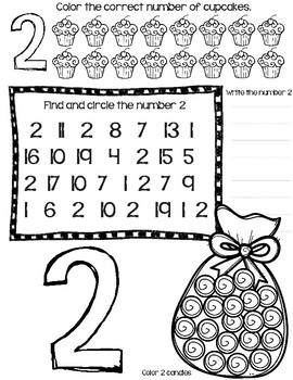 Cupcakes and Candy Counting Number 1-10 No Prep Printable/Worksheet