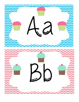 Cupcakes and Chevron Word Wall Letters