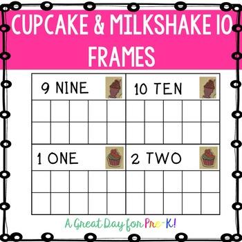 Cupcakes and Milkshakes 10 Frame Cards