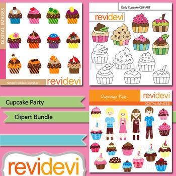 Cupcakes clipart: Cupcake party clip art bundle (3 packs)