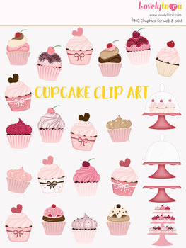Cupcakes clipart, pink bakery clip art (LC19)