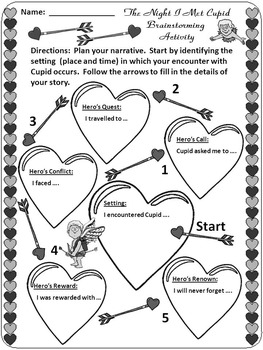 Valentine's Day ELA Activities: Who Is Cupid? Activity Packet - BW