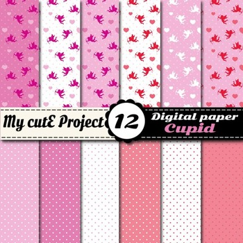 Cupid Digital Paper Pack - Hearts, cupid and polka dots - Valentine's day