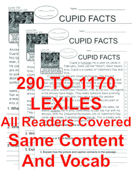 Cupid FACTS Close Read 5 Differentiated Levels Informational Text