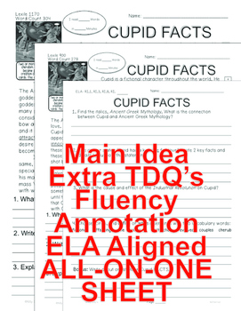 Cupid FACTS CLOSE READING 5 LEVELED PASSAGES Main Idea Fluency Check TDQs & MORE
