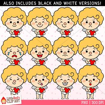 Cupid Faces Valentine's Day Clip Art