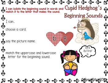 Cupid Hedgehog Beginning Sounds ABC Match Phonics Kindergarten Literacy Center