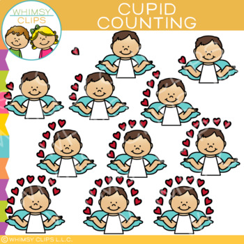 Cupid and Hearts Valentine Counting Clip Art