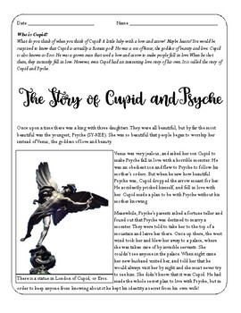 Cupid and Psyche Reading and Activities, Valentines Activity, Myth