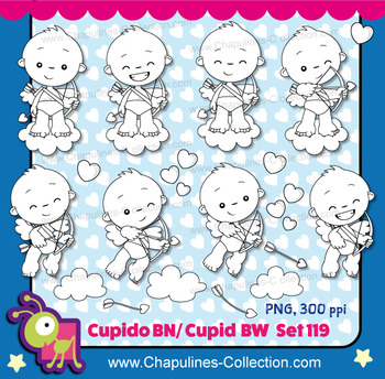 Cupid clipart in black and white, hearts, love, Valentine's day images Set 119