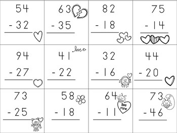 Cupid's Flying Arrows - Double Digit Subtraction Game Board