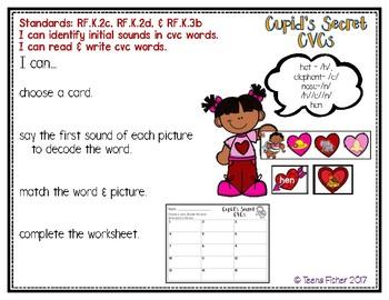 Cupid's Secret CVC Words Valentine's Day Literacy Center File Folder Game