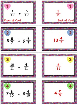 """Valentine's Math Skills & Learning Center (Add & Subtract """"Like"""" Fractions)"""