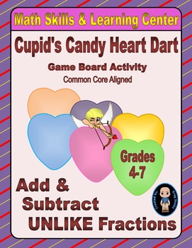 "Valentine's Math Skills & Learning Center (Add & Subtract ""Unlike"" Fractions)"