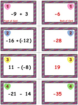 Valentine's Math Skills & Learning Center (Adding & Subtracting Integers)