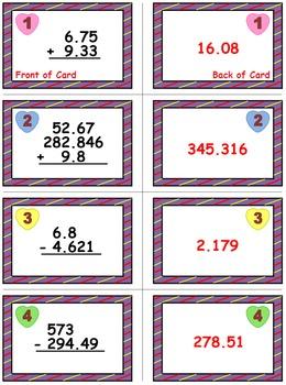 Valentine's Math Skills & Learning Center (Add & Subtract Decimals)
