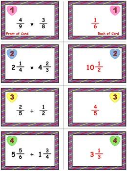 Valentine's Math Skills & Learning Center (Multiply & Divide Fractions)