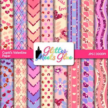 Cupid's Valentine Paper   Scrapbook Backgrounds for Task Cards & Brag Tags
