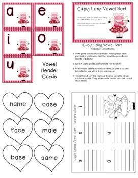 Valentine Cupig Long Vowel Sort Learning Center - Freebie
