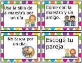 Cupones para premios/ Prize coupons- Spanish