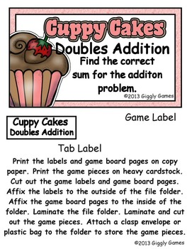 Cuppy Cakes Doubles Addition File Folder Game