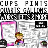 Cups  Pints Quarts Gallons Worksheets | Digital and Printable